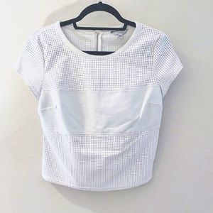 Guess. Vegan leather white paneled top. Small